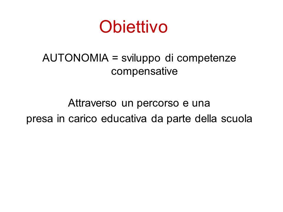 Obiettivo AUTONOMIA = sviluppo di competenze compensative