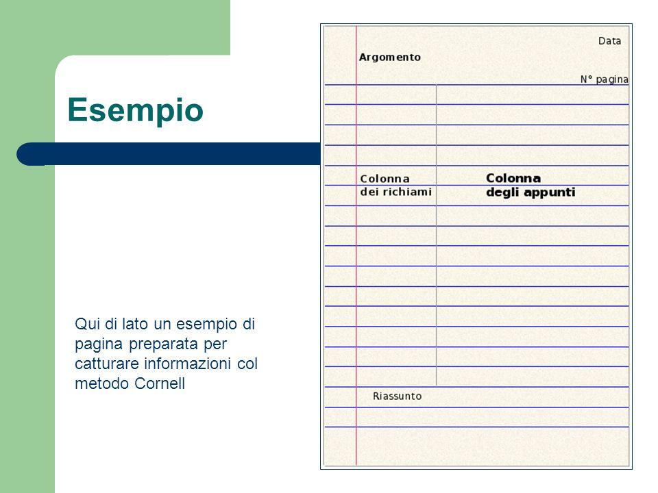 Esempio Qui di lato un esempio di pagina preparata per catturare informazioni col metodo Cornell