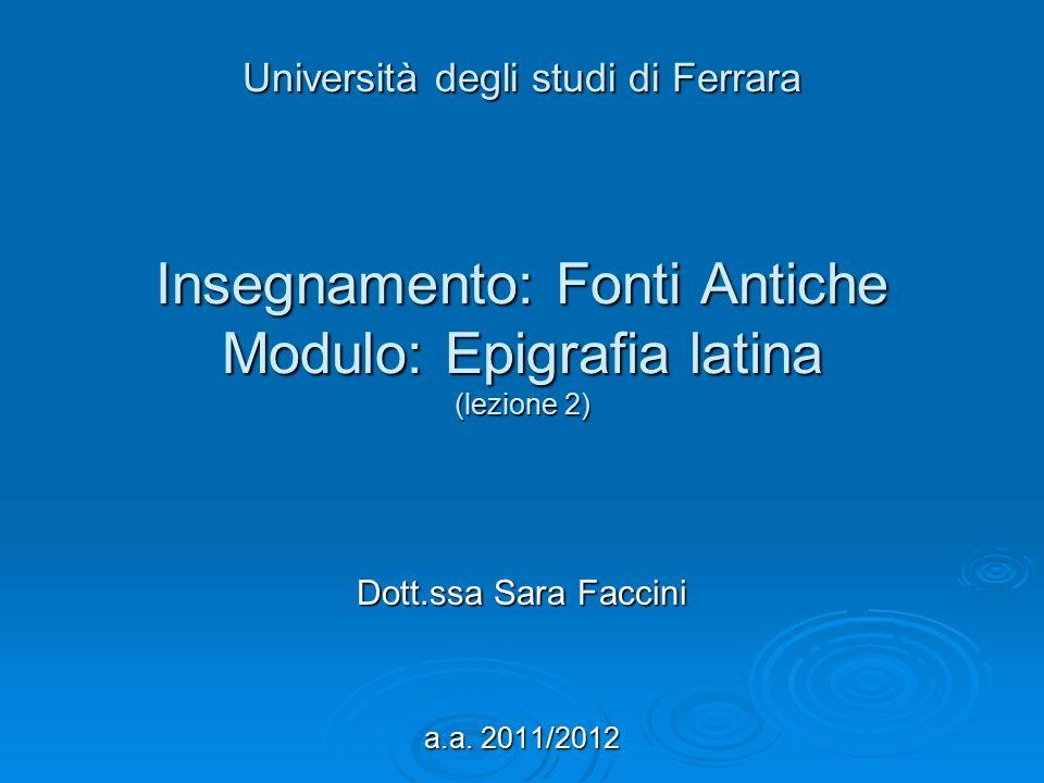 Dott.ssa Sara Faccini a.a. 2011/2012