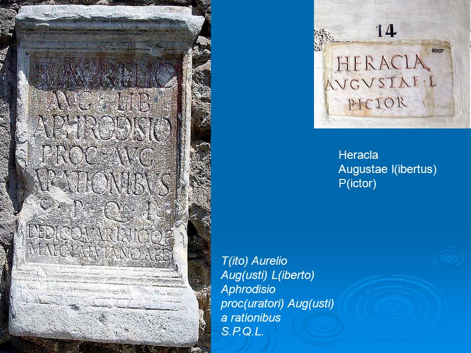 Heracla Augustae l(ibertus) P(ictor) T(ito) Aurelio. Aug(usti) L(iberto) Aphrodisio. proc(uratori) Aug(usti)