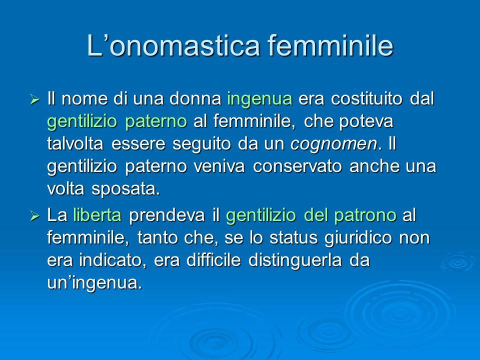 L'onomastica femminile