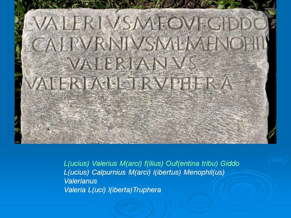 L(ucius) Valerius M(arci) f(ilius) Ouf(entina tribu) Giddo L(ucius) Calpurnius M(arci) l(ibertus) Menophil(us) Valerianus