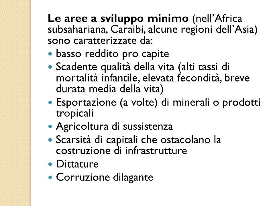 Le aree a sviluppo minimo (nell'Africa subsahariana, Caraibi, alcune regioni dell'Asia) sono caratterizzate da: