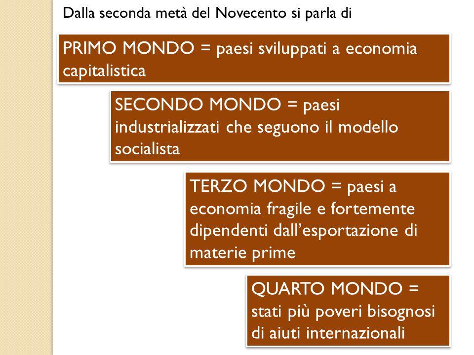 PRIMO MONDO = paesi sviluppati a economia capitalistica