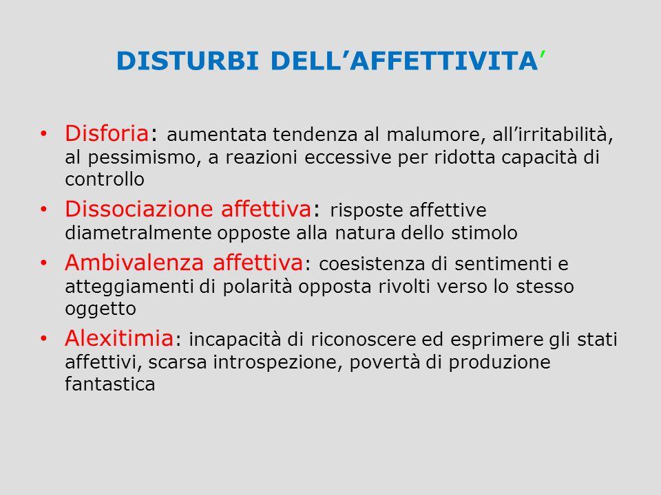 DISTURBI DELL'AFFETTIVITA'