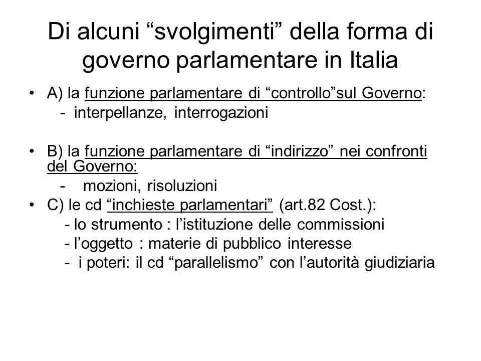 Di alcuni svolgimenti della forma di governo parlamentare in Italia