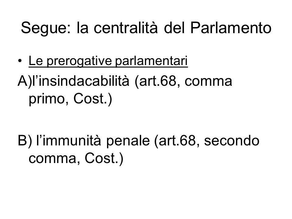 Segue: la centralità del Parlamento