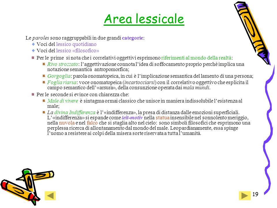 Area lessicale Le paroles sono raggruppabili in due grandi categorie: