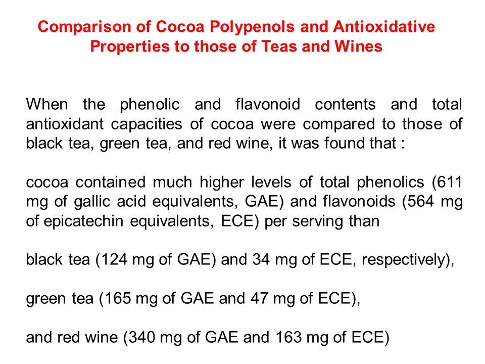 Comparison of Cocoa Polypenols and Antioxidative Properties to those of Teas and Wines
