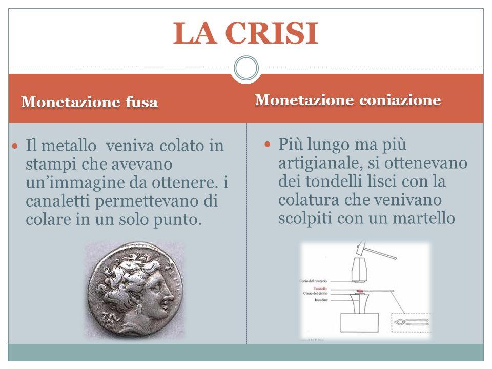 LA CRISI Monetazione fusa. Monetazione coniazione.