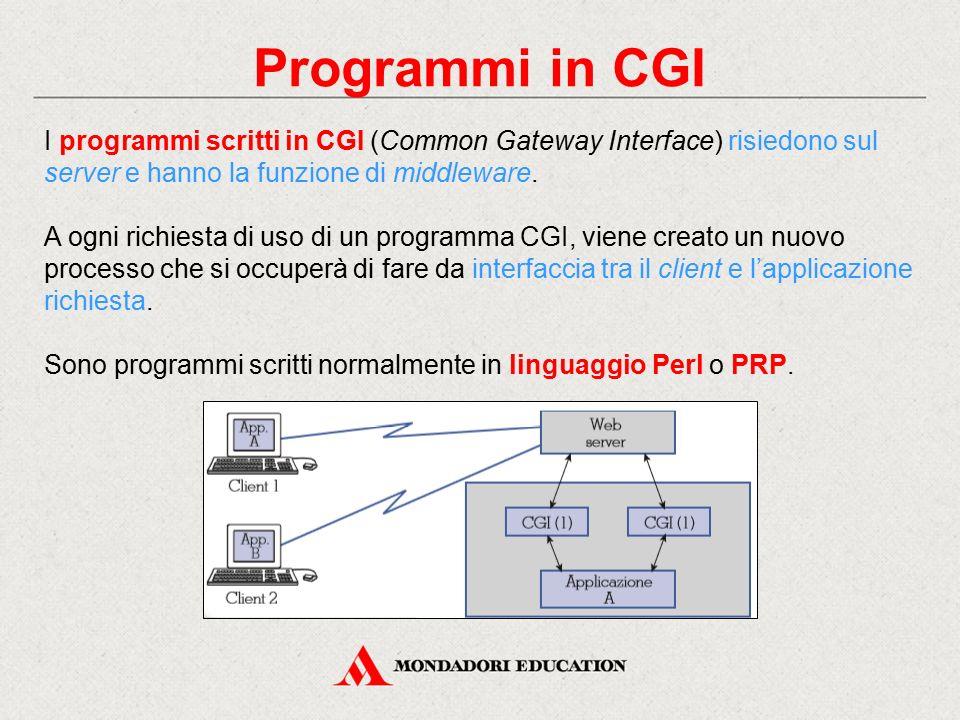 Programmi in CGI I programmi scritti in CGI (Common Gateway Interface) risiedono sul server e hanno la funzione di middleware.