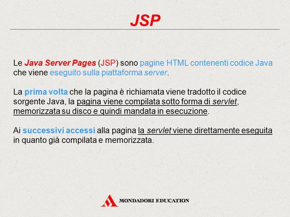 JSP Le Java Server Pages (JSP) sono pagine HTML contenenti codice Java che viene eseguito sulla piattaforma server.