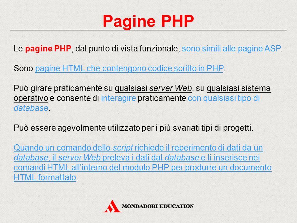 Pagine PHP Le pagine PHP, dal punto di vista funzionale, sono simili alle pagine ASP. Sono pagine HTML che contengono codice scritto in PHP.