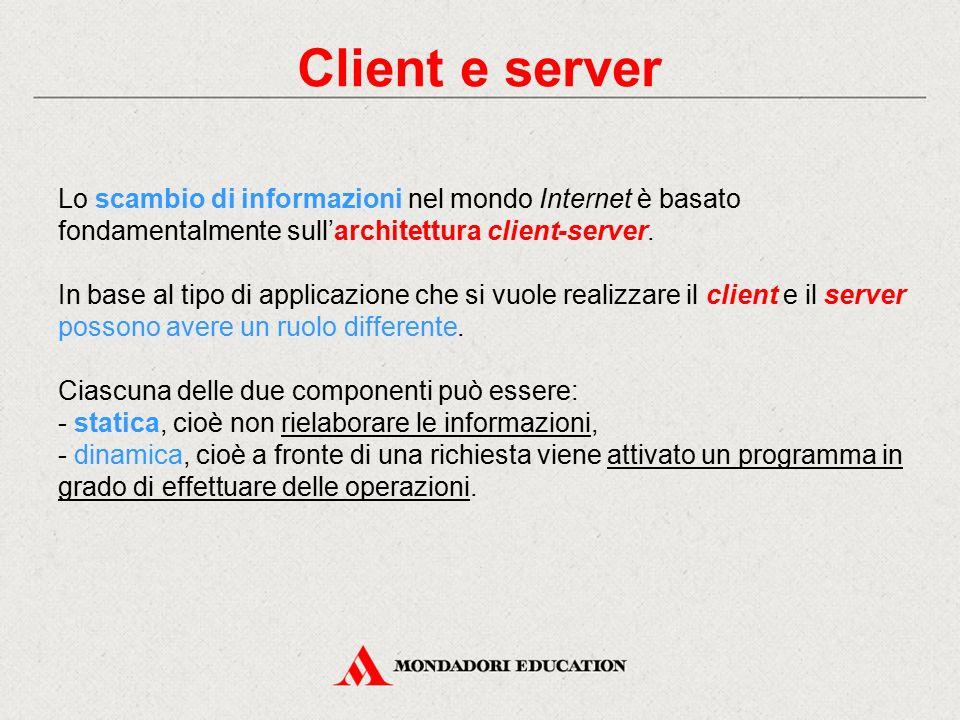 Client e server Lo scambio di informazioni nel mondo Internet è basato fondamentalmente sull'architettura client-server.