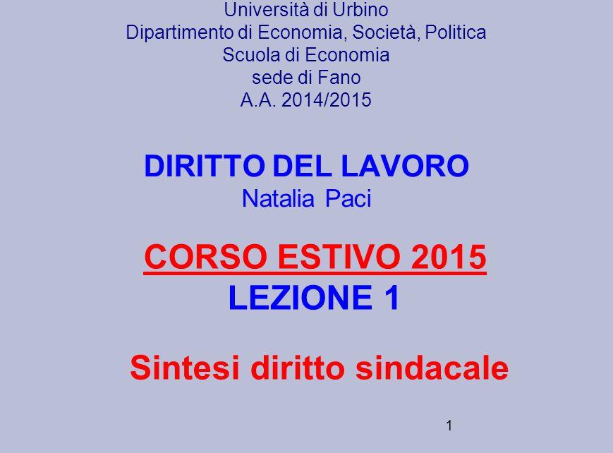 CORSO ESTIVO 2015 LEZIONE 1 Sintesi diritto sindacale