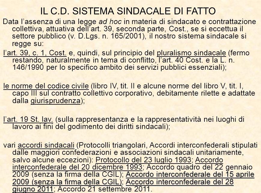 IL C.D. SISTEMA SINDACALE DI FATTO