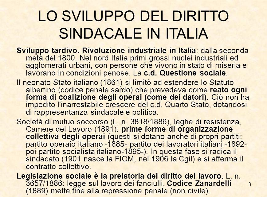 LO SVILUPPO DEL DIRITTO SINDACALE IN ITALIA
