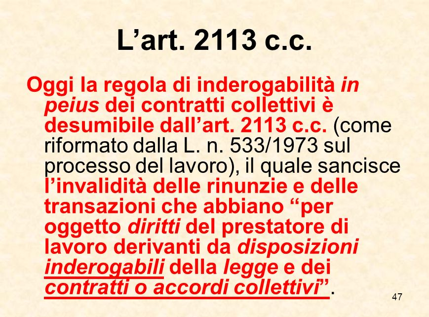 L'art. 2113 c.c.