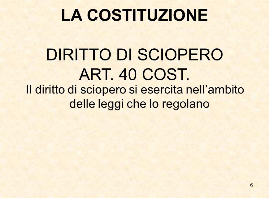 LA COSTITUZIONE DIRITTO DI SCIOPERO ART. 40 COST.