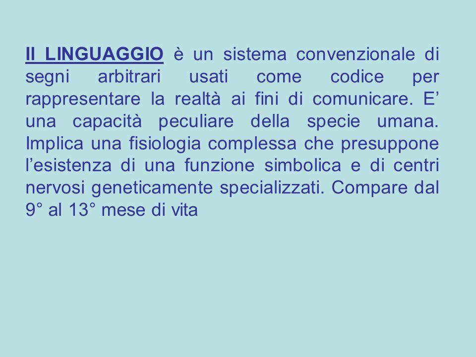 Il LINGUAGGIO è un sistema convenzionale di segni arbitrari usati come codice per rappresentare la realtà ai fini di comunicare.