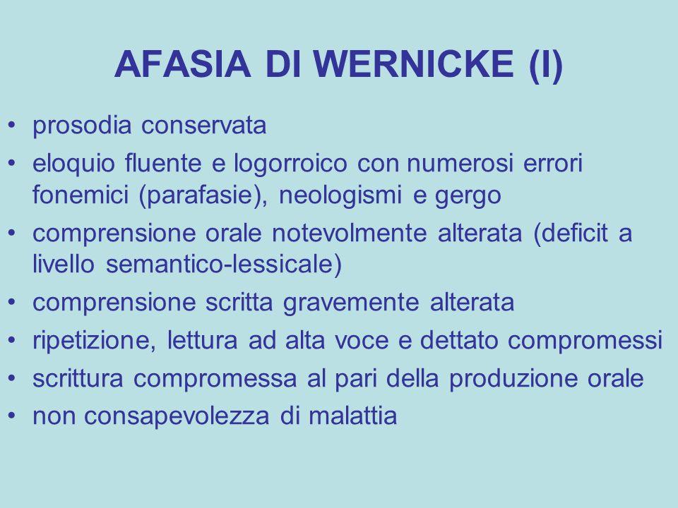 AFASIA DI WERNICKE (I) prosodia conservata