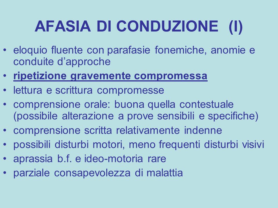 AFASIA DI CONDUZIONE (I)