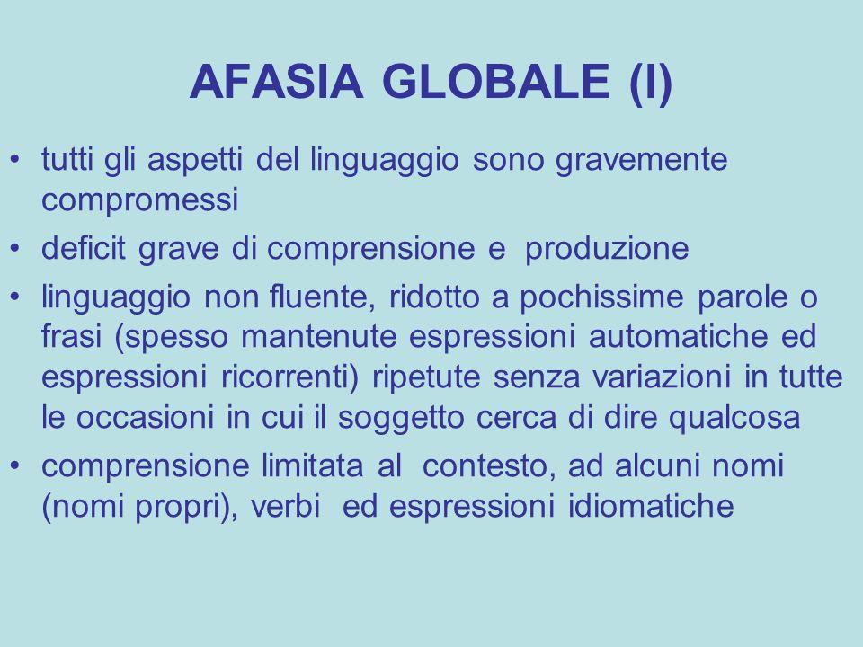 AFASIA GLOBALE (I) tutti gli aspetti del linguaggio sono gravemente compromessi. deficit grave di comprensione e produzione.