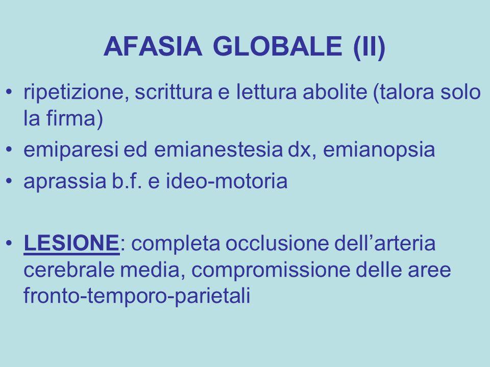 AFASIA GLOBALE (II) ripetizione, scrittura e lettura abolite (talora solo la firma) emiparesi ed emianestesia dx, emianopsia.