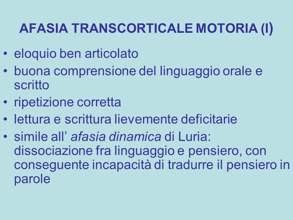 AFASIA TRANSCORTICALE MOTORIA (I)