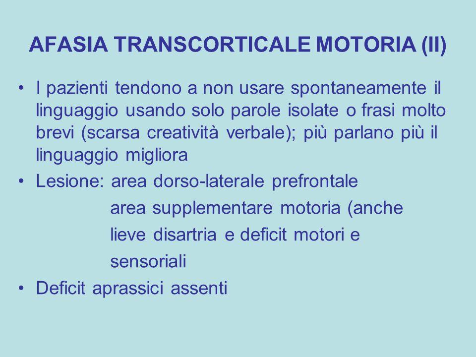 AFASIA TRANSCORTICALE MOTORIA (II)
