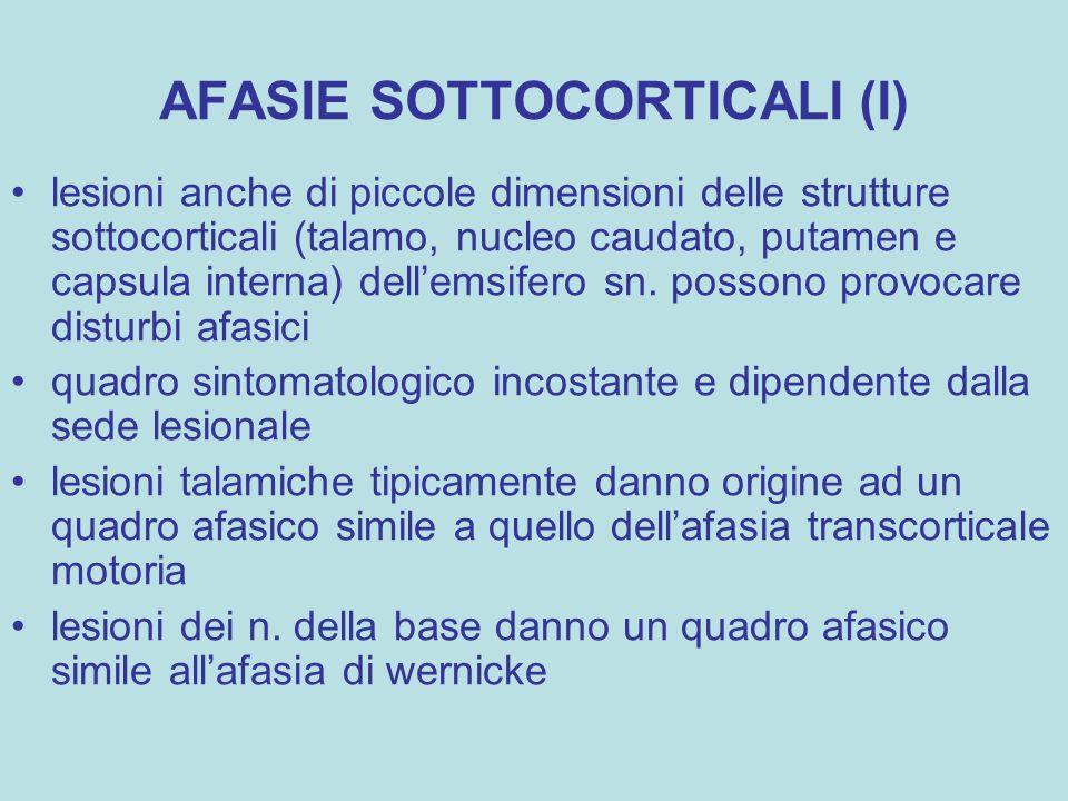 AFASIE SOTTOCORTICALI (I)