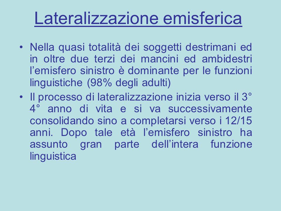 Lateralizzazione emisferica