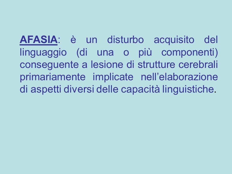 AFASIA: è un disturbo acquisito del linguaggio (di una o più componenti) conseguente a lesione di strutture cerebrali primariamente implicate nell'elaborazione di aspetti diversi delle capacità linguistiche.