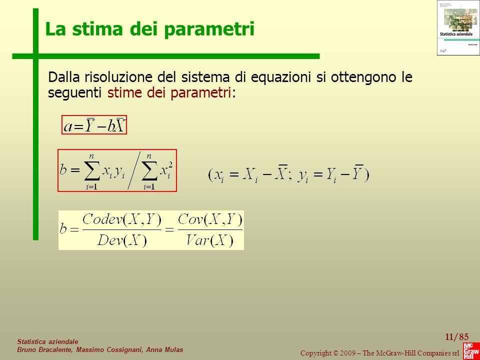 La stima dei parametri Dalla risoluzione del sistema di equazioni si ottengono le seguenti stime dei parametri: