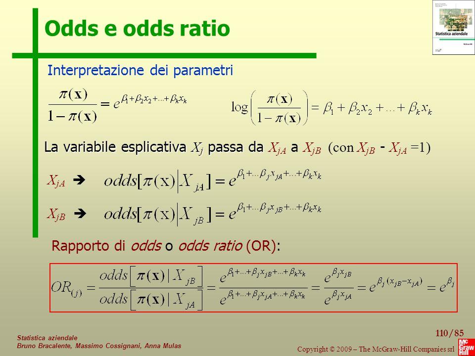 Odds e odds ratio Interpretazione dei parametri