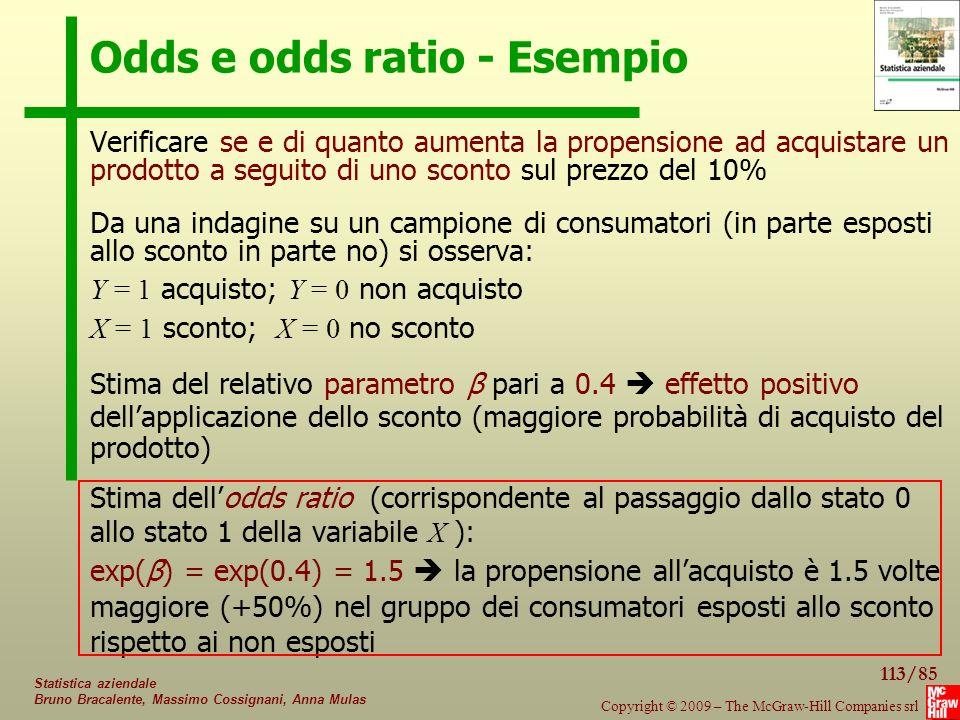 Odds e odds ratio - Esempio