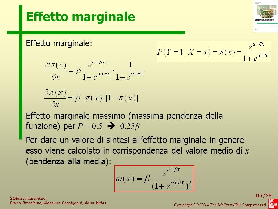 Effetto marginale Effetto marginale: