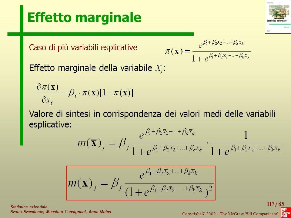 Effetto marginale Effetto marginale della variabile Xj: