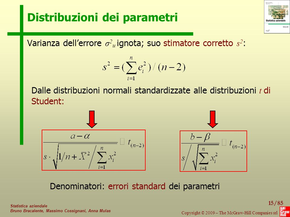 Distribuzioni dei parametri