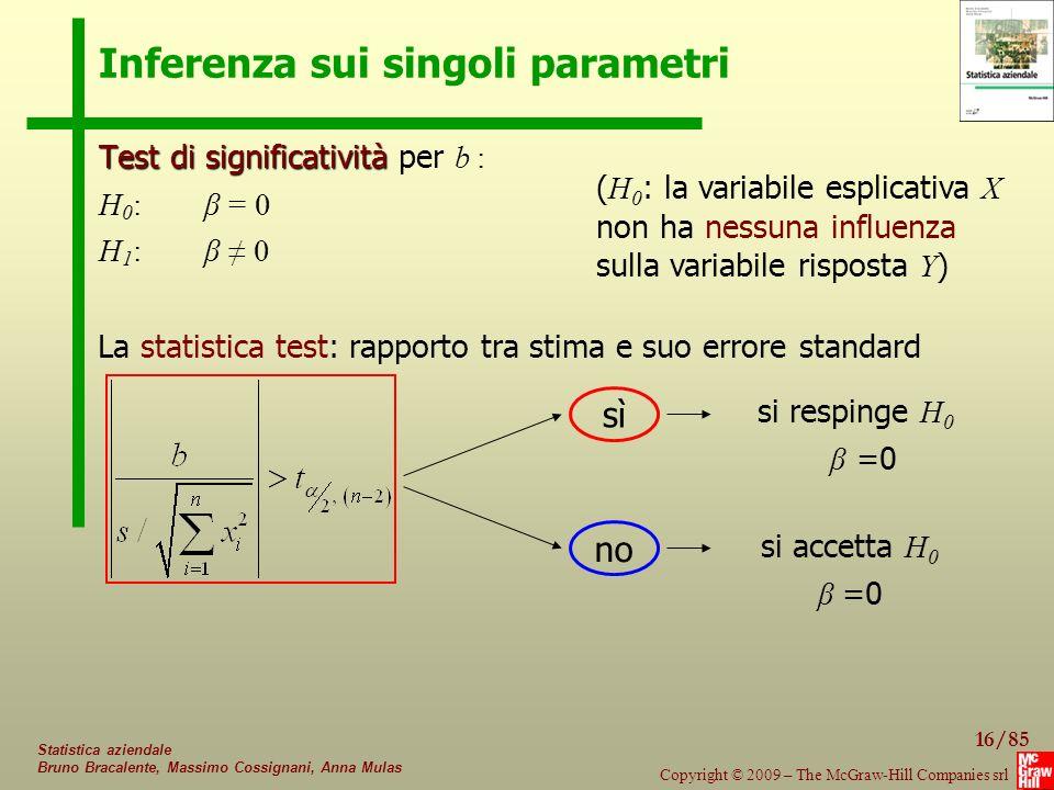 Inferenza sui singoli parametri