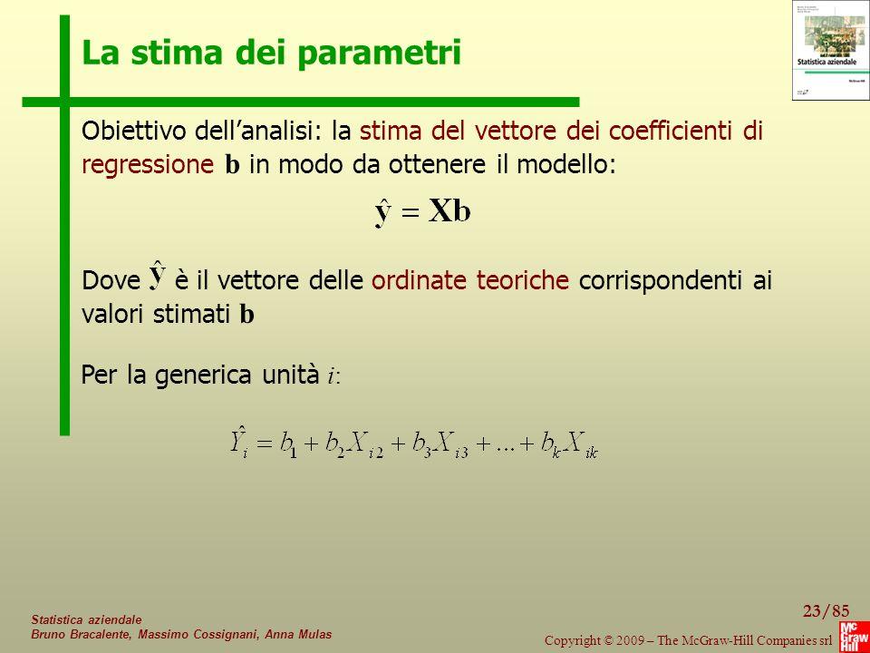 La stima dei parametri Obiettivo dell'analisi: la stima del vettore dei coefficienti di regressione b in modo da ottenere il modello: