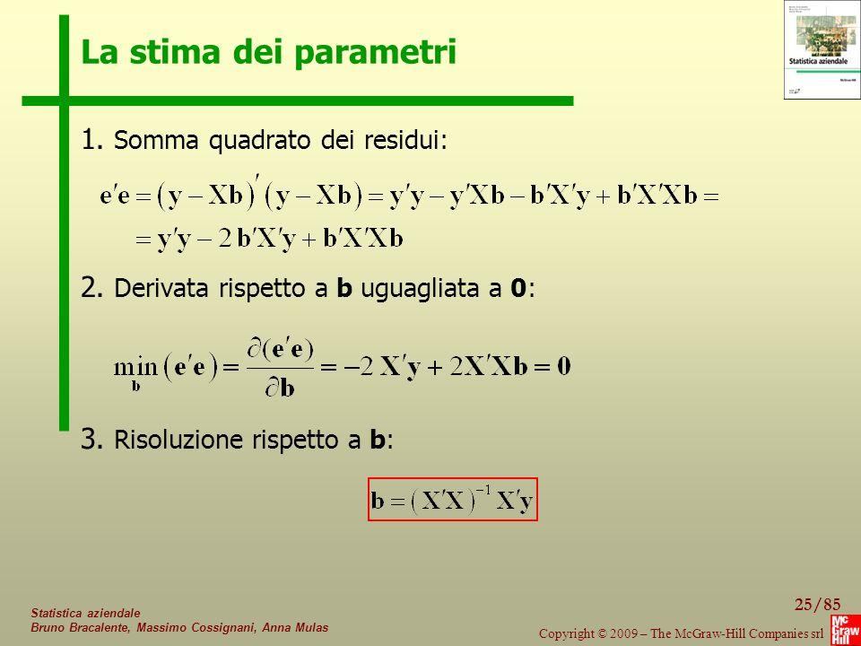La stima dei parametri 1. Somma quadrato dei residui: