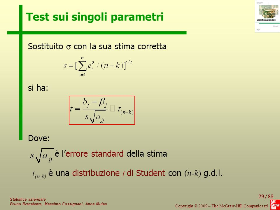 Test sui singoli parametri
