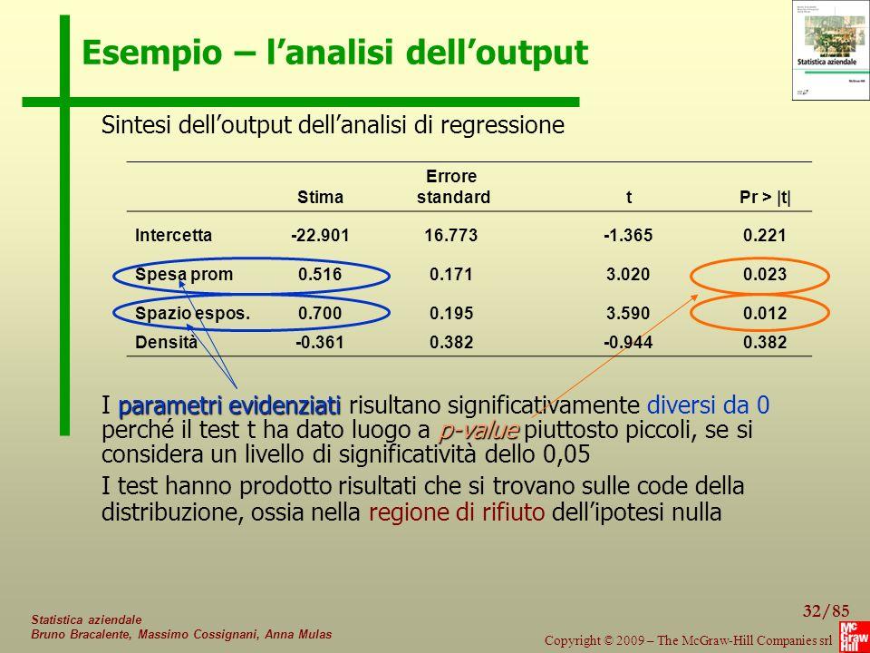 Esempio – l'analisi dell'output