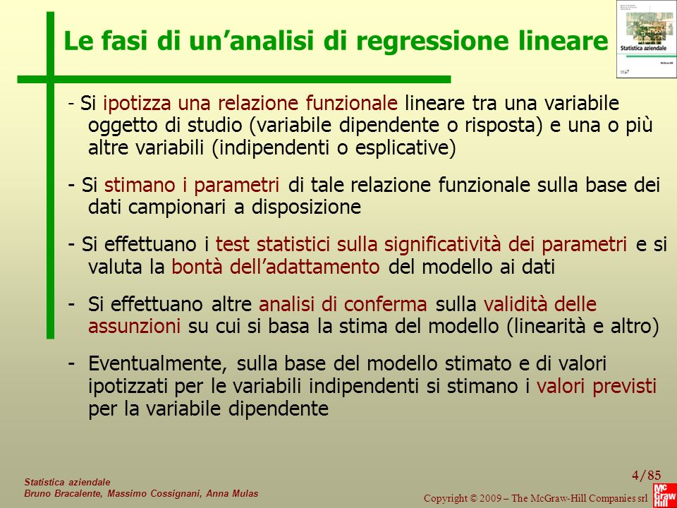 Le fasi di un'analisi di regressione lineare
