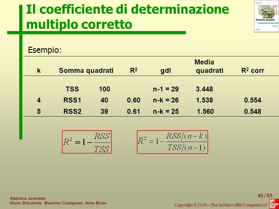Il coefficiente di determinazione multiplo corretto