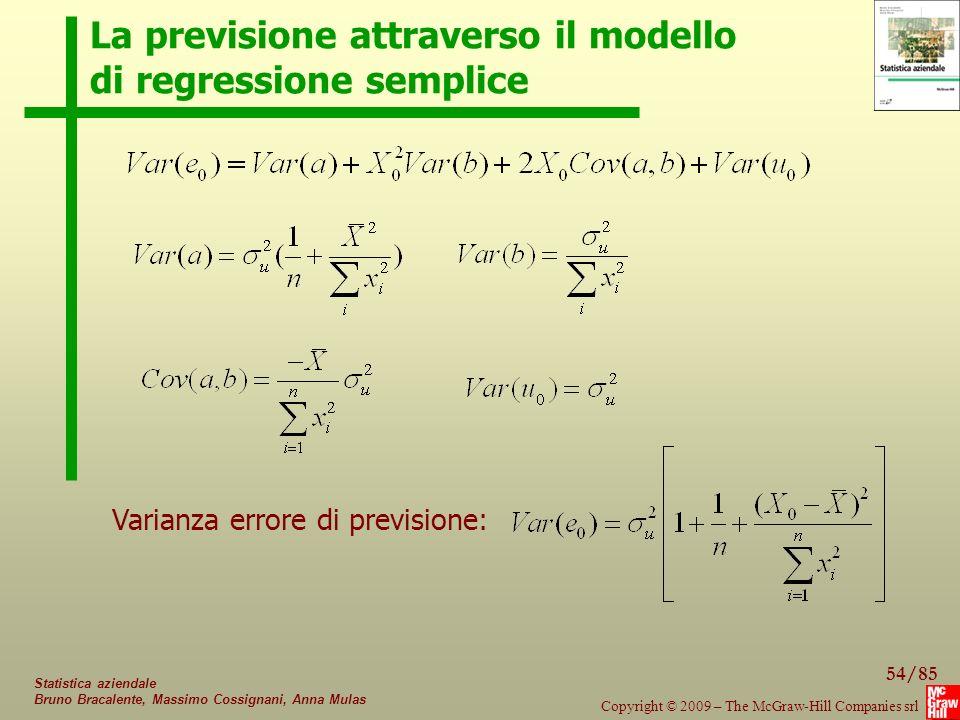 La previsione attraverso il modello di regressione semplice