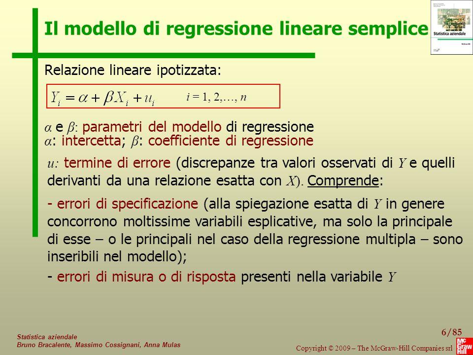 Il modello di regressione lineare semplice