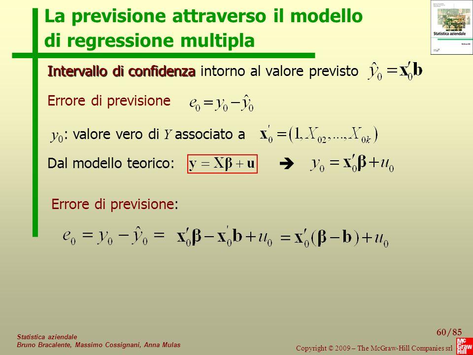 La previsione attraverso il modello di regressione multipla