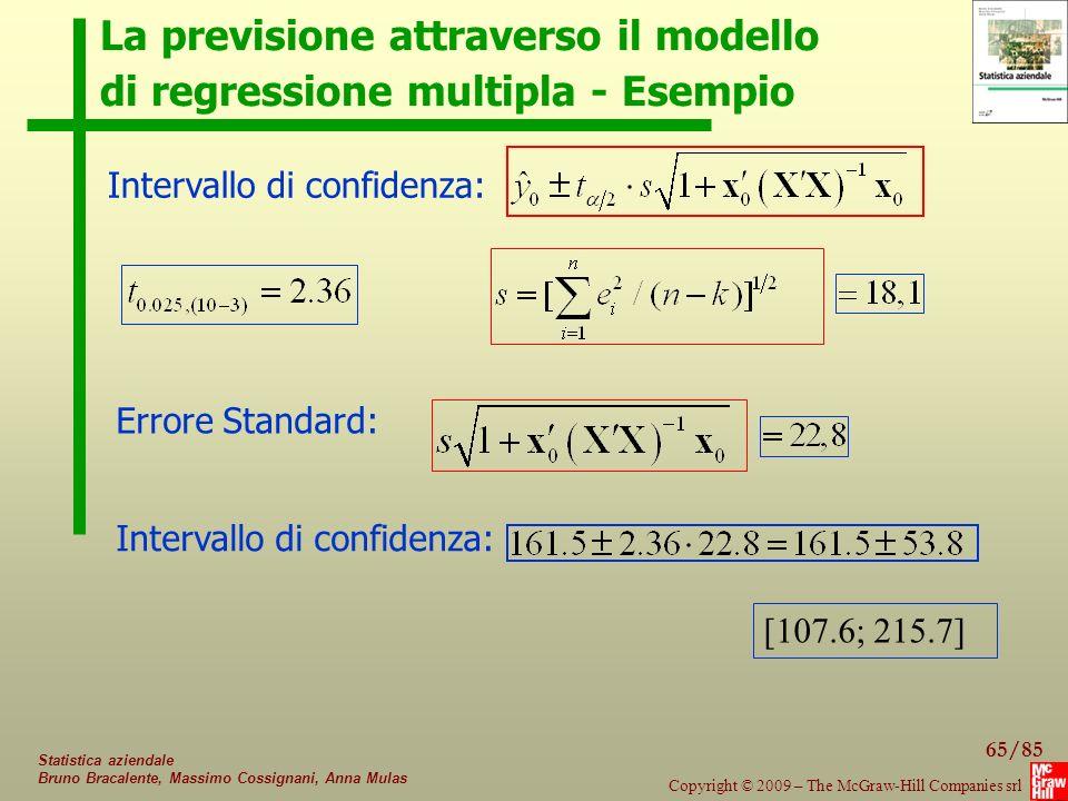 La previsione attraverso il modello di regressione multipla - Esempio